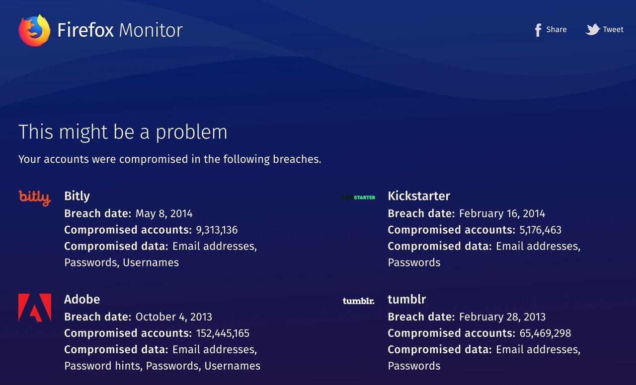 メールアドレスを入力すると流出被害に遭っているか分かる「Firefox Monitor」