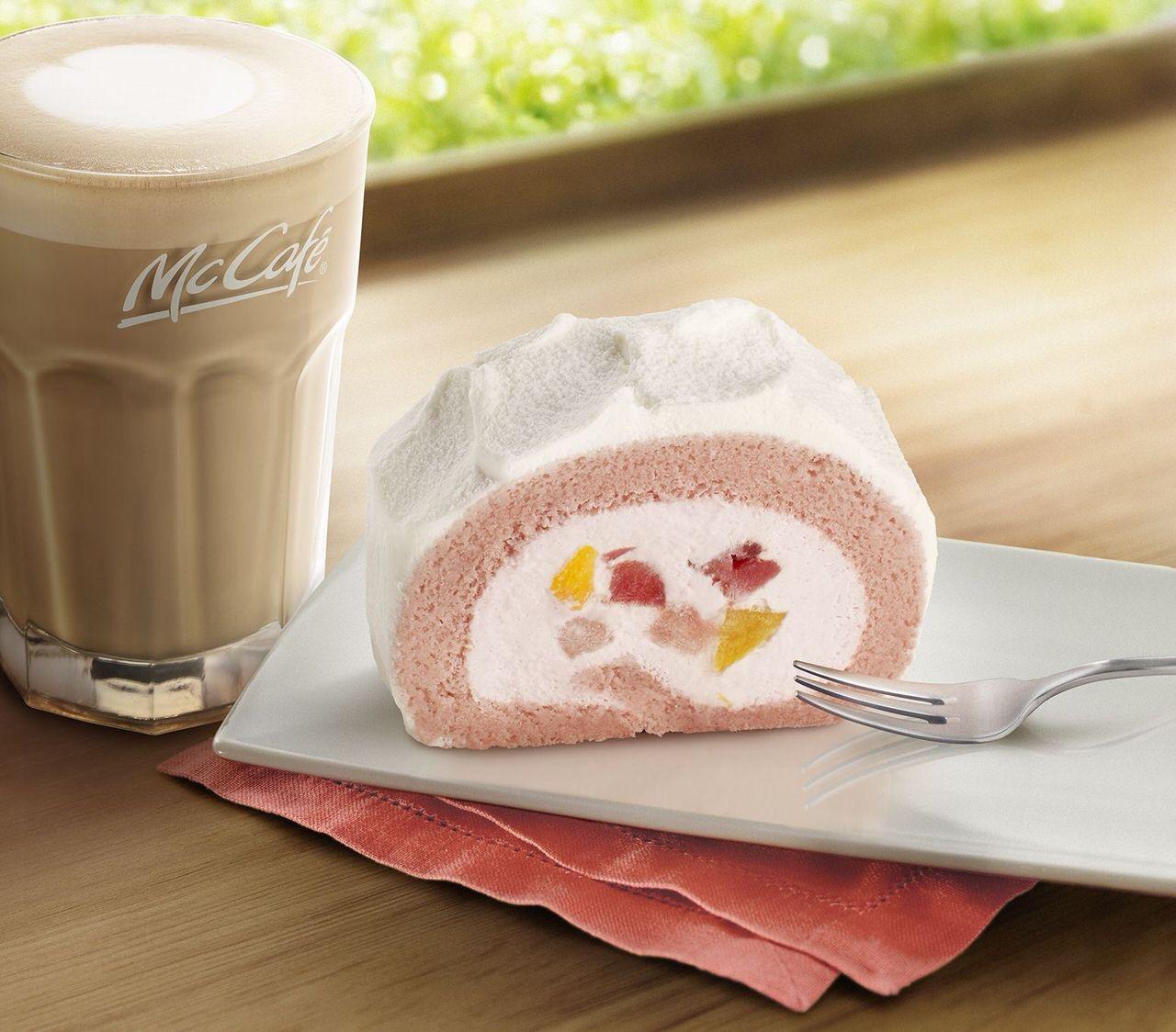 【マクドナルド】McCafé by Barista「いちご&もも贅沢ロールケーキ」レギュラー販売開始