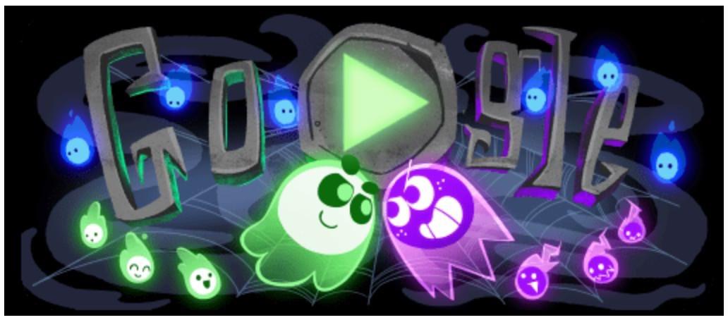 Googleロゴ「ハロウィン2018」に 〜お化けの対戦ゲームで遊べる