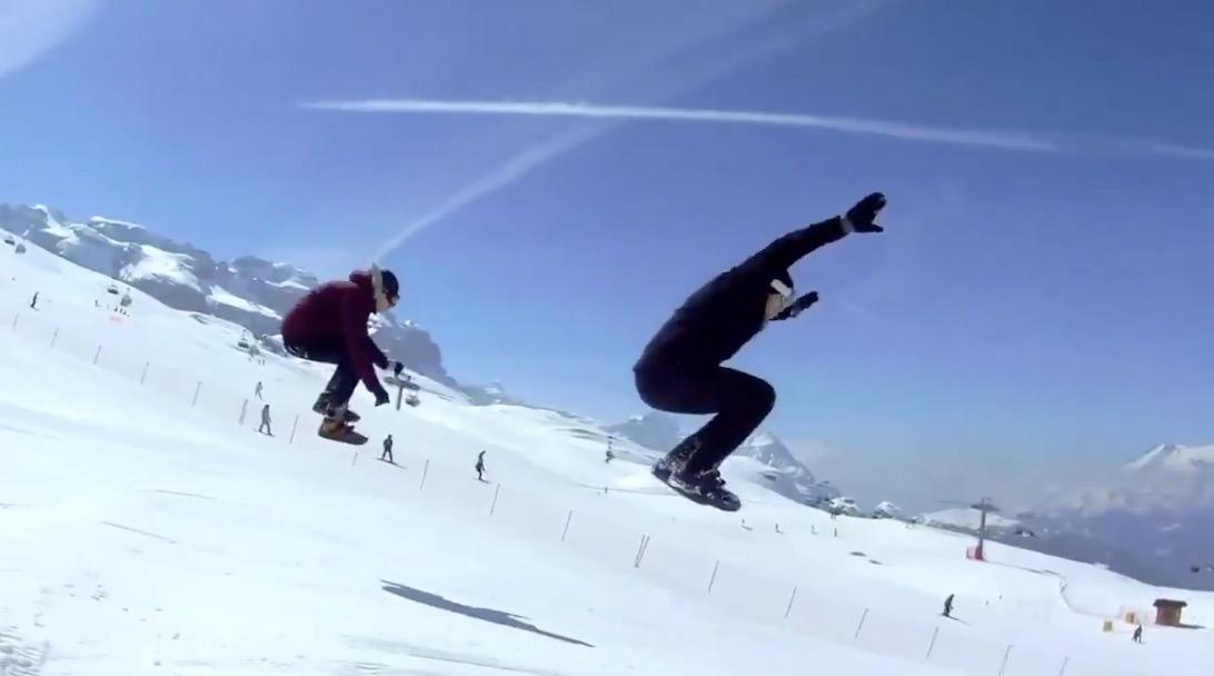 【動画】「スノーフィート」スキーのようだけど板じゃない!スケートのように雪山を滑る新スポーツ