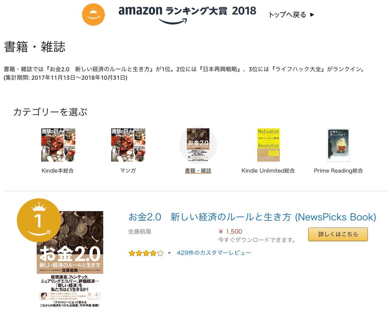 「Amazonランキング大賞2018」発表!3位に @mehori がランクイン!