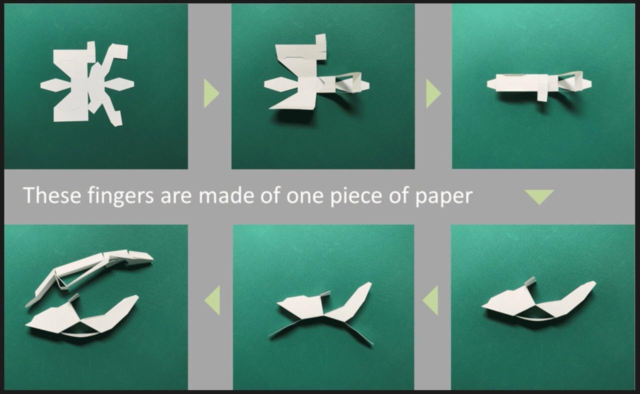 「Origami-hand」1枚の紙で折れる使い捨て可能なマジックハンド