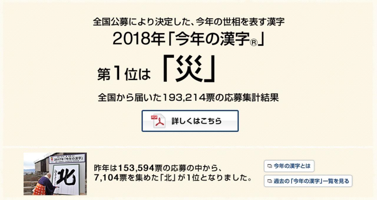 今年の漢字は「災」(2018年)