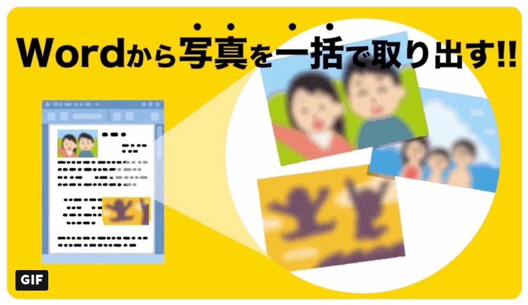 Wordファイルの拡張子を変更して中の写真を一括して取り出す方法