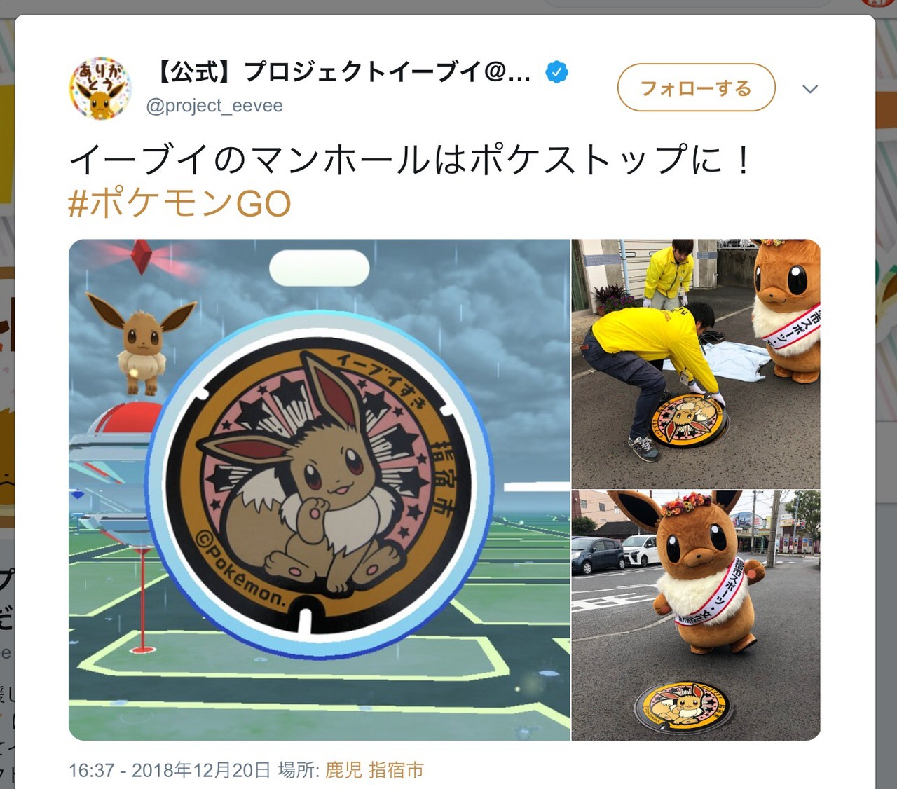 「イーブイ好き→いぶすき」語呂合わせで指宿市にイーブイのマンホールが爆誕