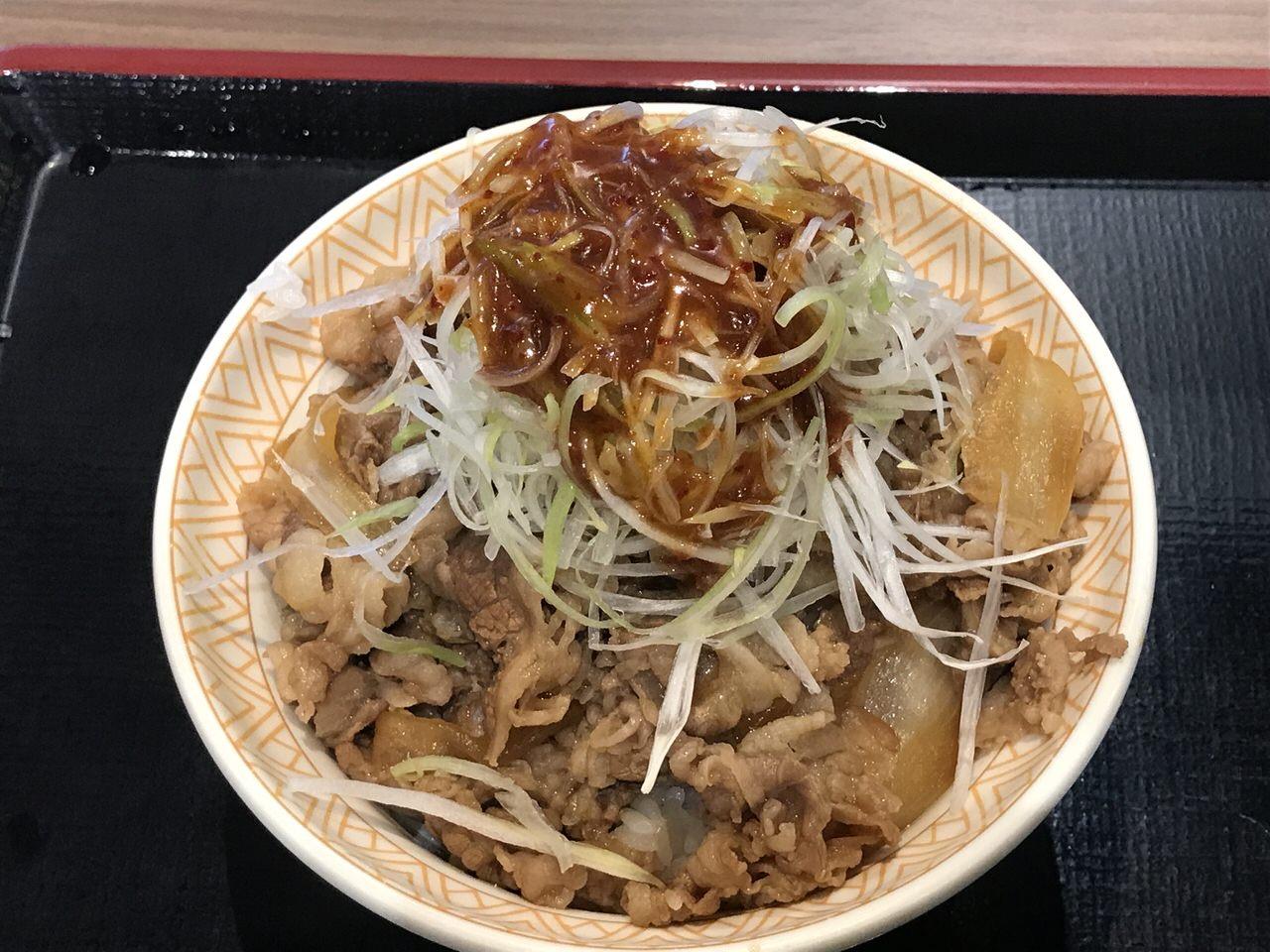 すき家 白髪ねぎ牛丼 旨辛ダレ 2
