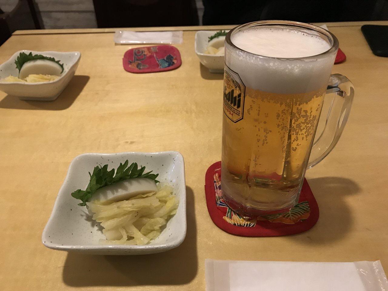 生ビールと1品