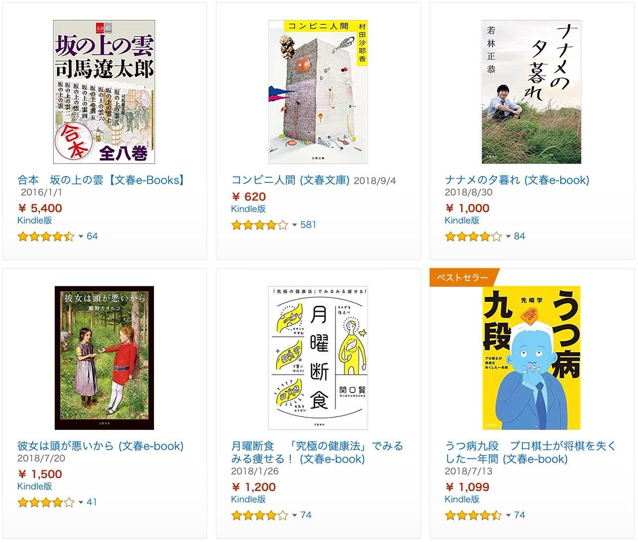 【Kindleセール】40%ポイント還元「2018年文藝春秋ベスト100」(1/17まで)