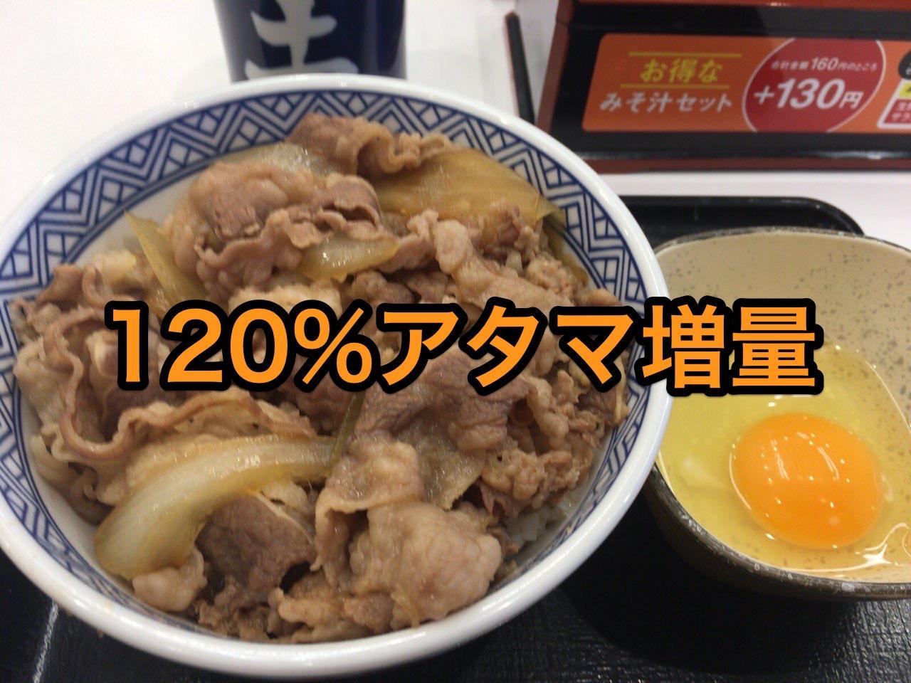 【吉野家】アタマ120%に増量した牛丼並盛を食べた【1/24限定】