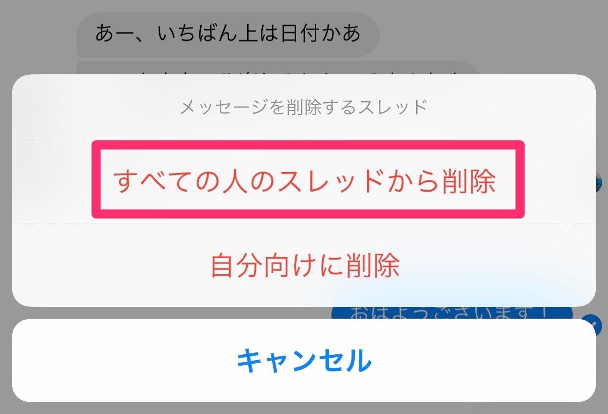 【Facebookメッセンジャー】送信したメッセージを削除する方法 02