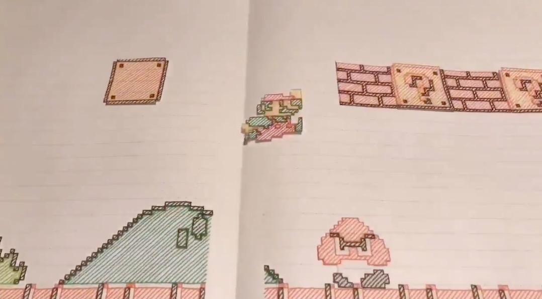 ノートに描かれたスーパーマリオブラザーズのストップモーションアニメが凄い