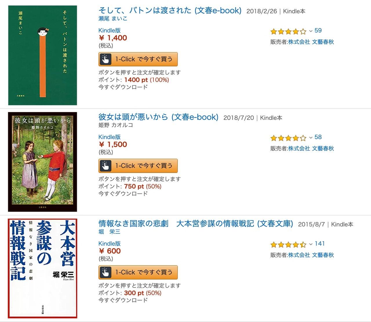 【Kindleセール】4,000冊以上が対象!50%ポイント還元「文春祭り」(5/9まで)