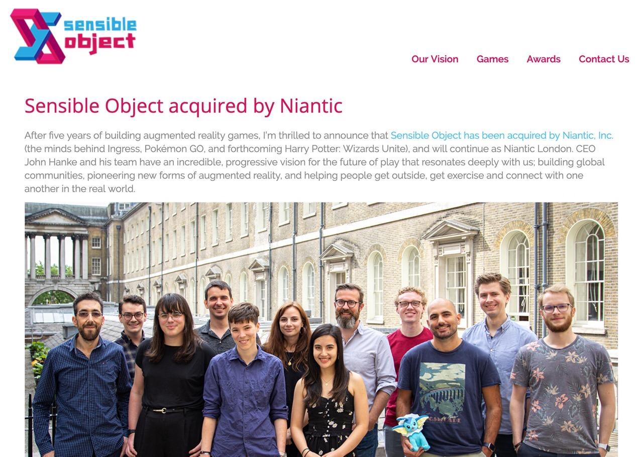 Niantic、ロンドンのゲーム会社「Sensible Object」買収