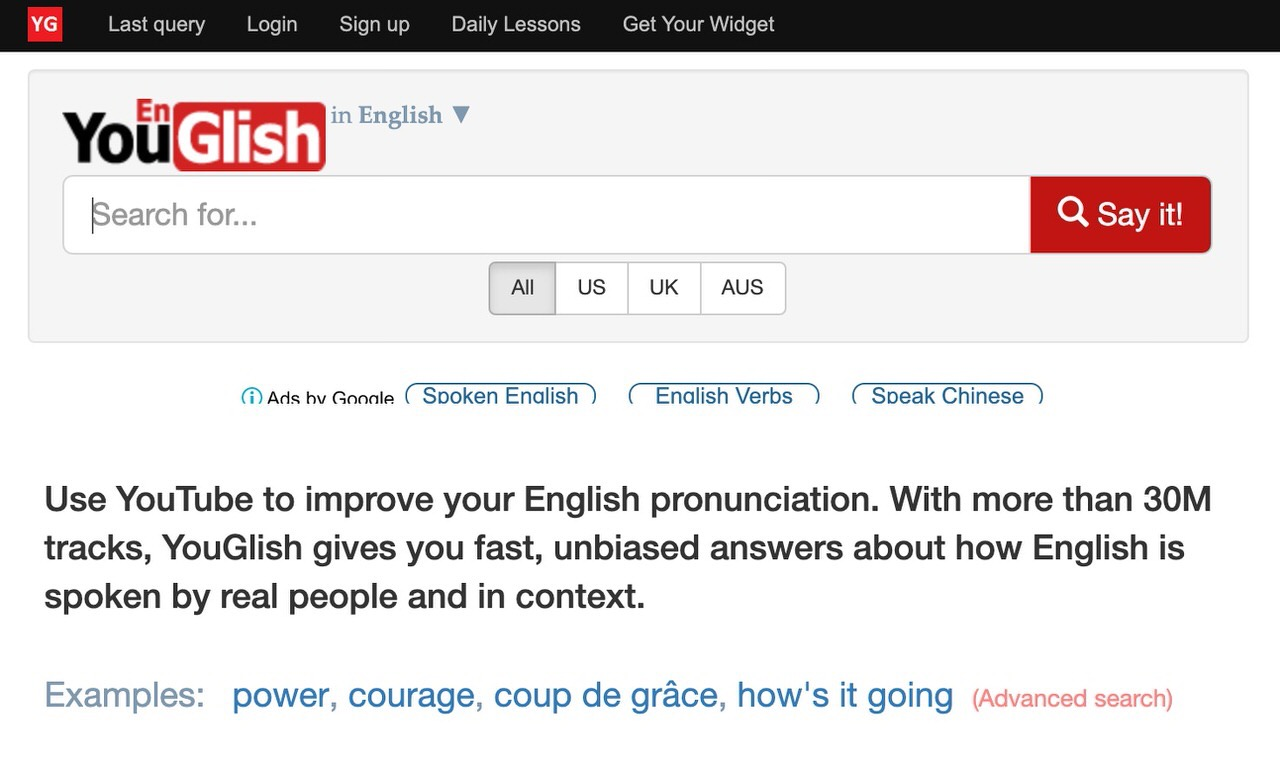 英単語やフレーズが使われているシーンをYouTubeで検索できる「YouGlish」