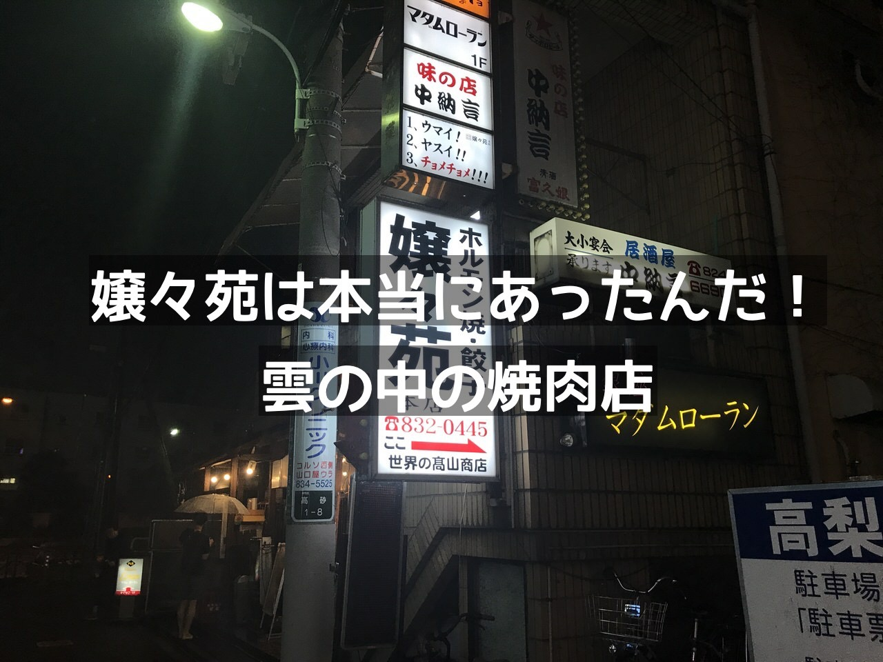 「嬢々苑 本店」雲の中の焼肉・ホルモン店(浦和)