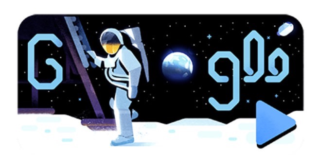 Googleロゴ「アポロ 11 号」に