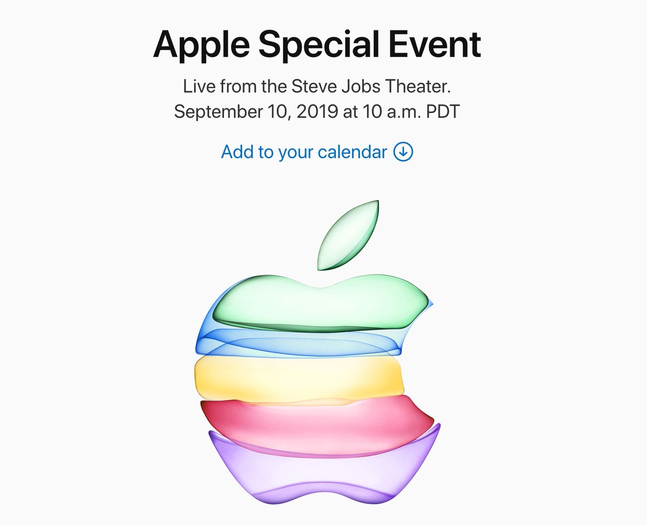 Apple、2019年9月10日に「Apple Special Event」開催を発表