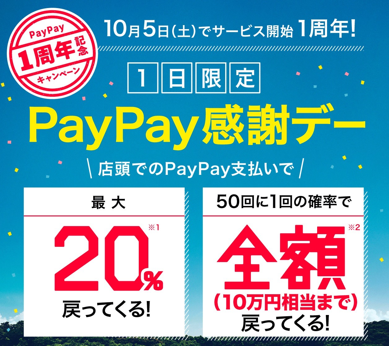 【PayPay】サービス1周年記念し20%還元「PayPay感謝デー」を10/5に1日限定で開催