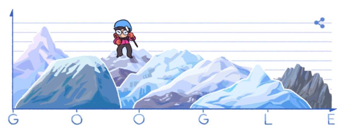 Googleロゴ「Junko Tabei(田部井淳子)」に