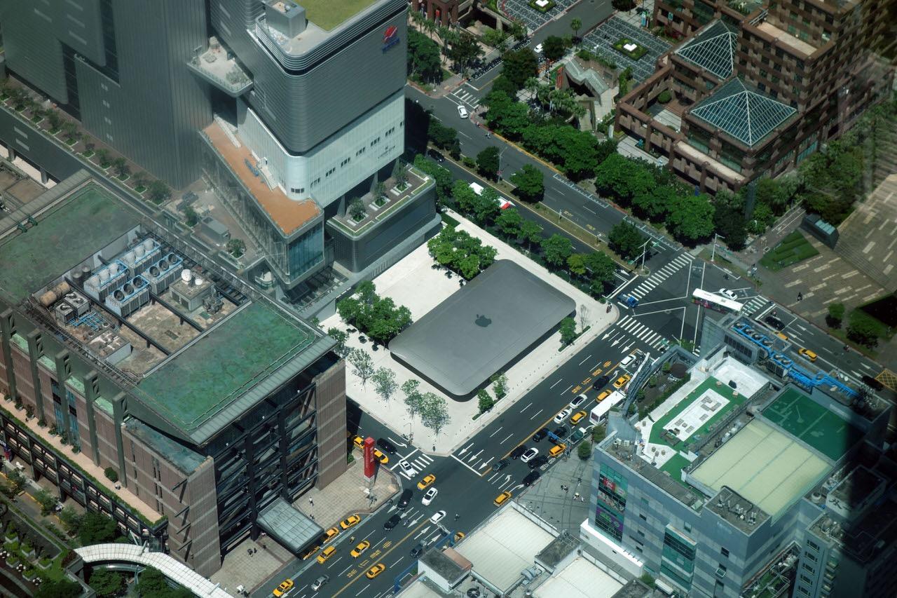 台湾のApple Store「Apple 信義 A13」の屋根は上から見るとMacBook Airになっている