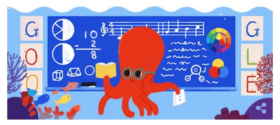 Googleロゴ「教師の日」に