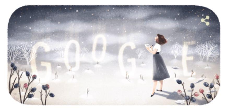 Googleロゴ「シルヴィア・プラス」に