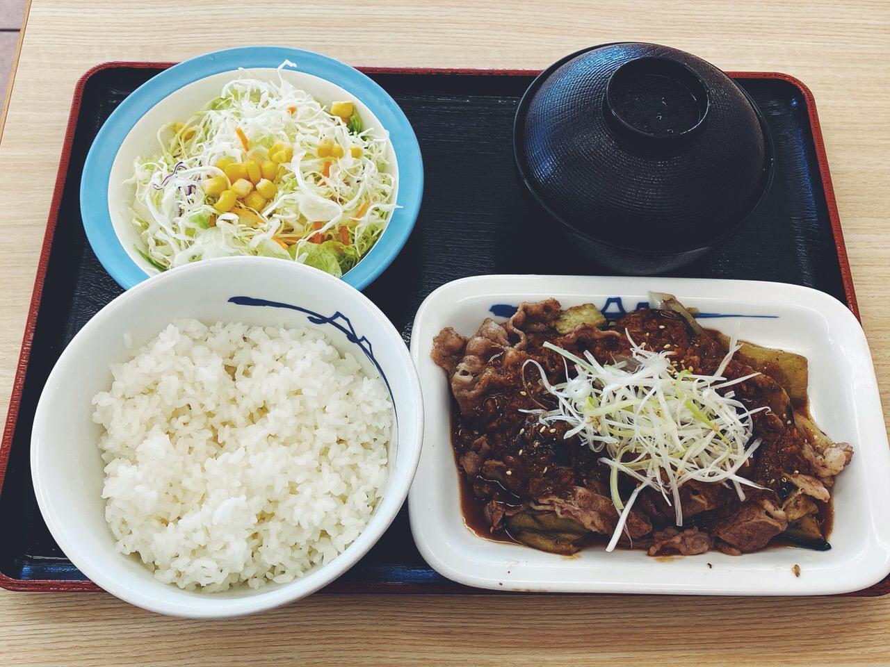 【松屋】「牛焼肉と茄子のにんにく味噌定食」1