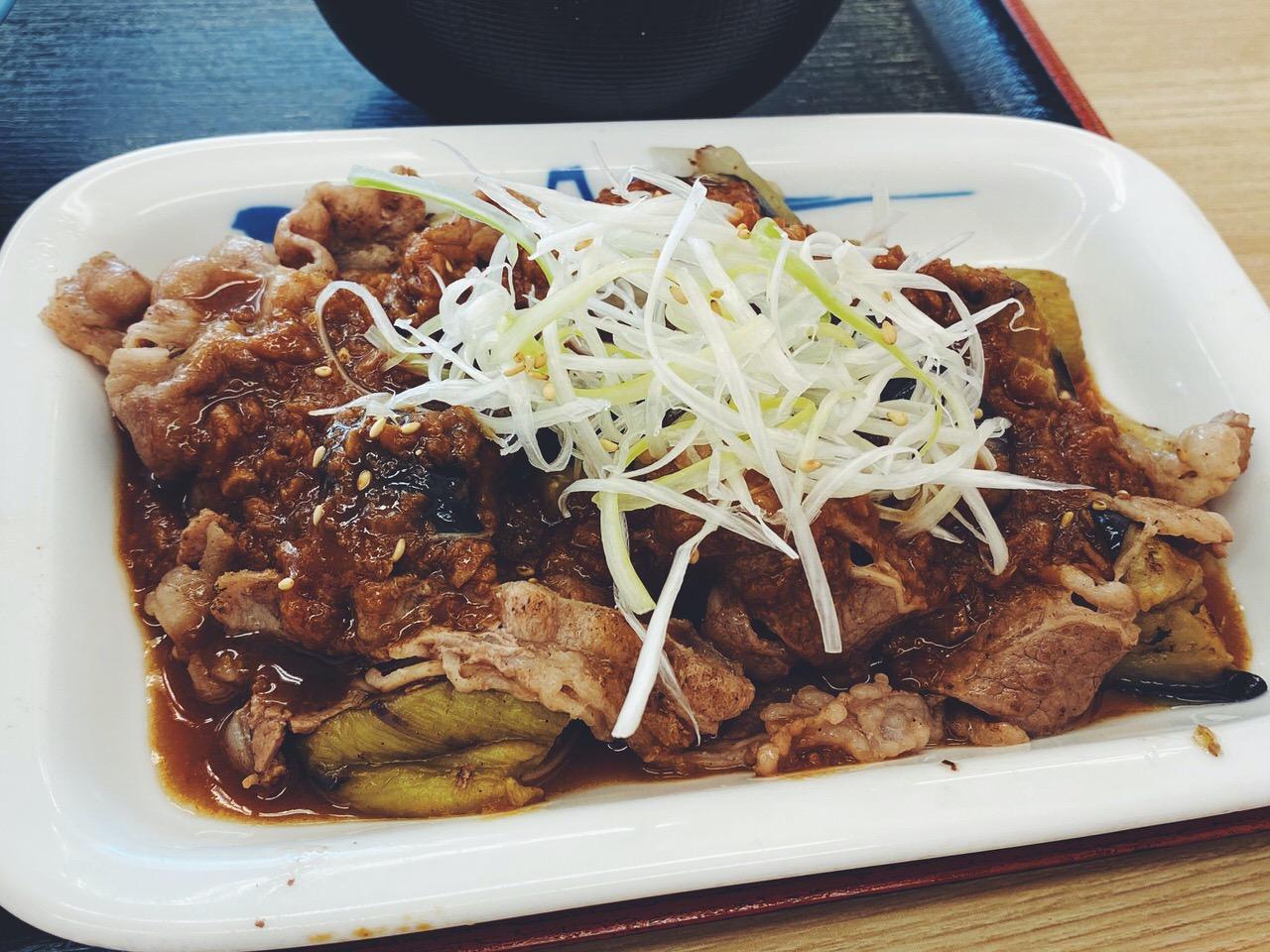 【松屋】「牛焼肉と茄子のにんにく味噌定食」3