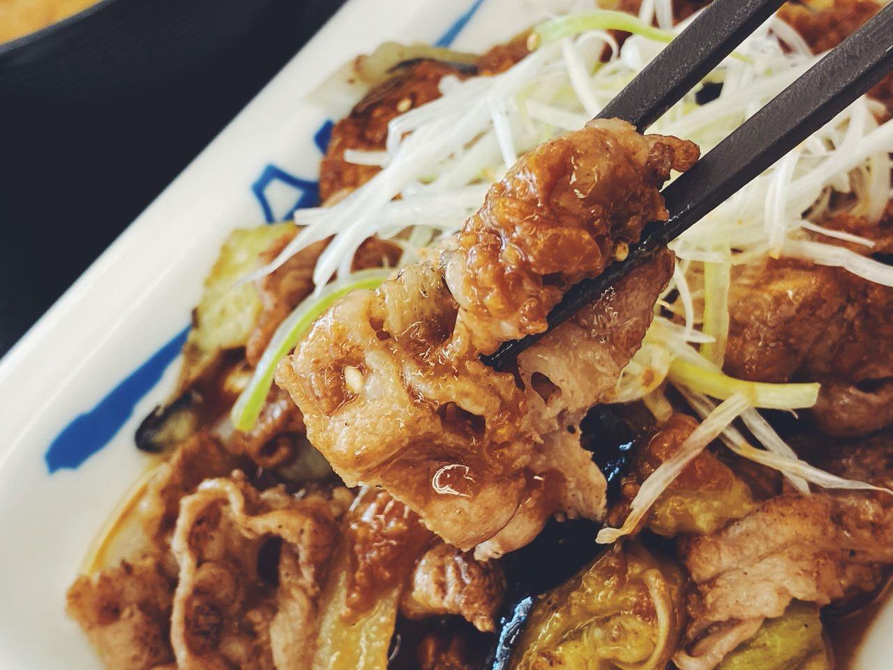 【松屋】「牛焼肉と茄子のにんにく味噌定食」4