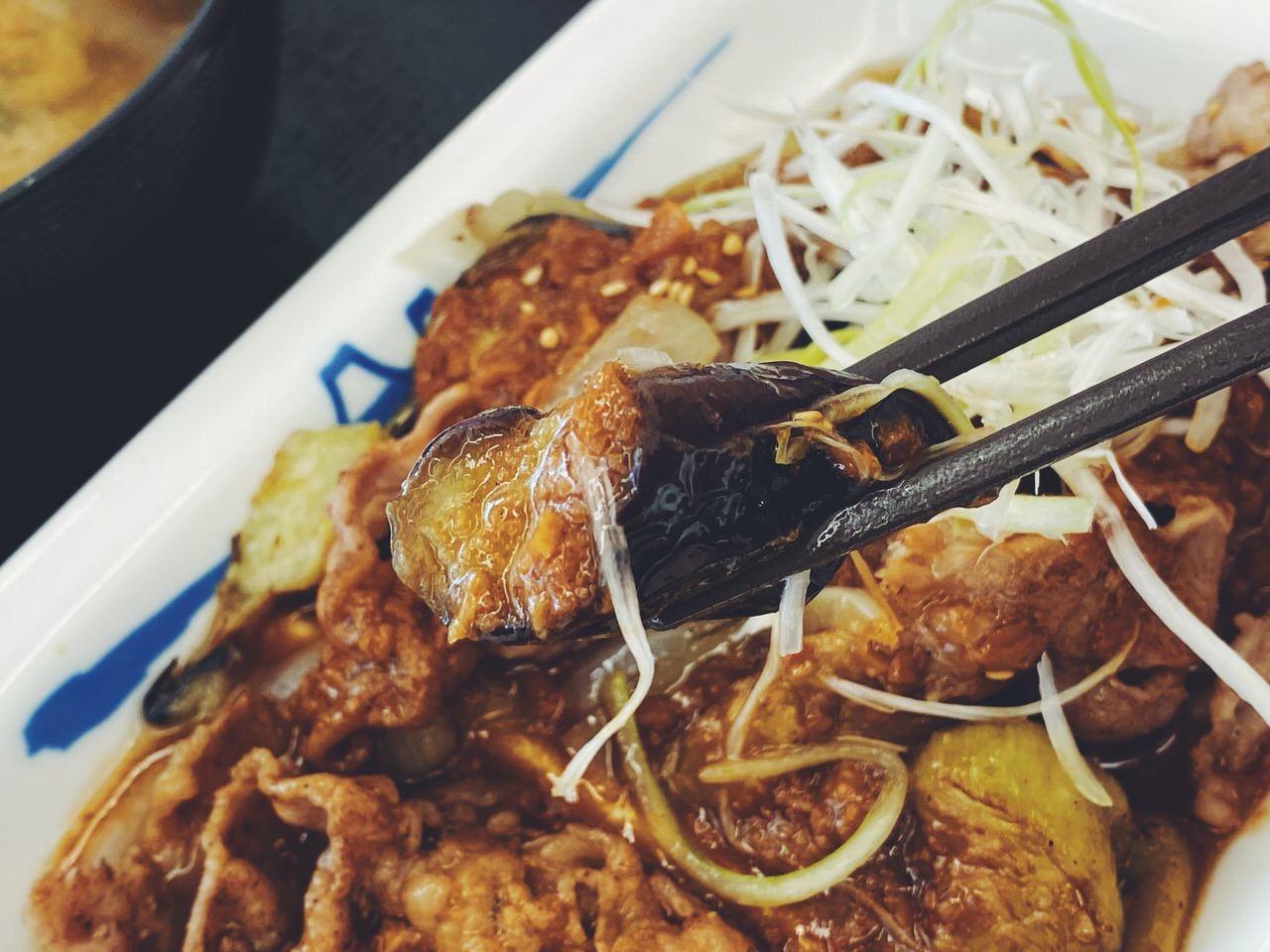 【松屋】「牛焼肉と茄子のにんにく味噌定食」7
