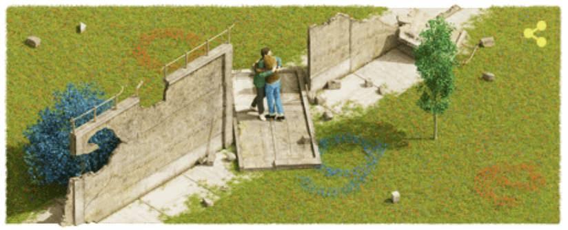 Googleロゴ「ベルリンの壁崩壊」に