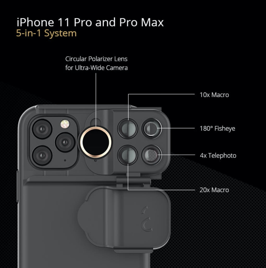 マクロ・魚眼・ズームレンズを搭載したiPhone 11/Pro/Pro Max用ケース「ShiftCam」