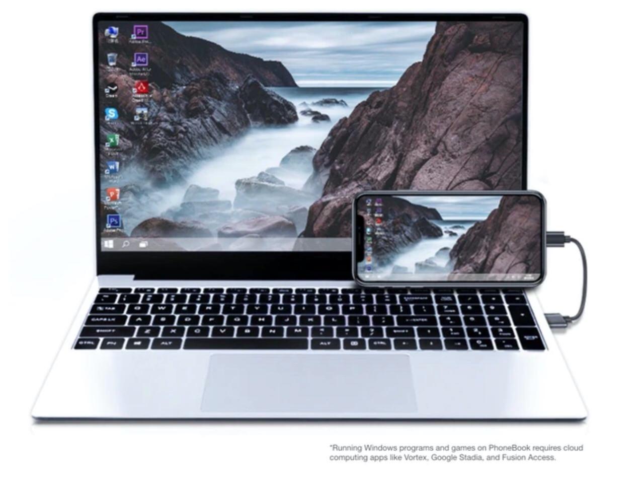 どんなスマホでも15.6インチのラップトップPCにしてしまう「PhoneBook」は169ドル