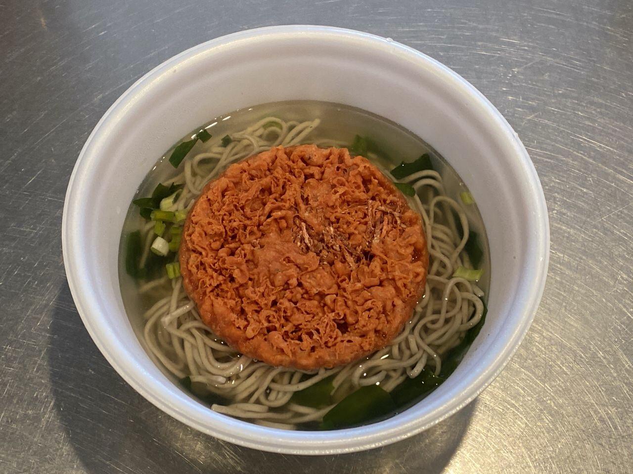 カップ麺「名代 富士そば 紅生姜天そば」4