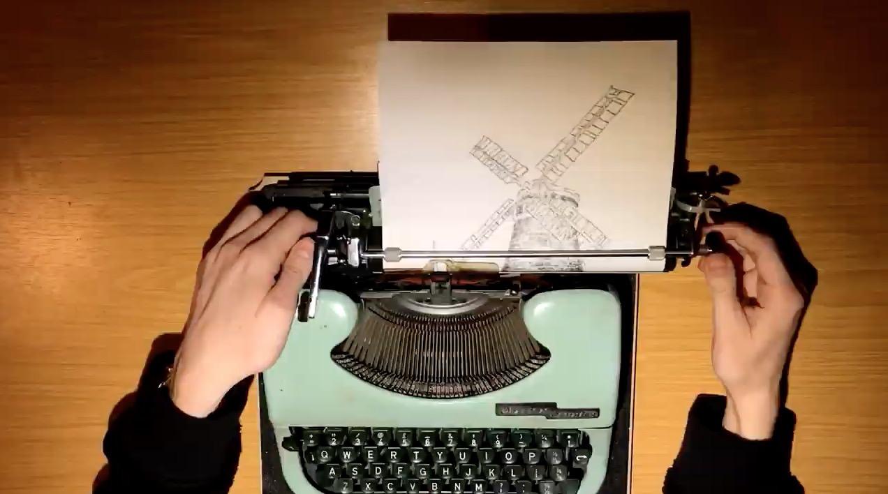 これがリアルなアスキーアート!?タイプライターで絵を描くアートな動画