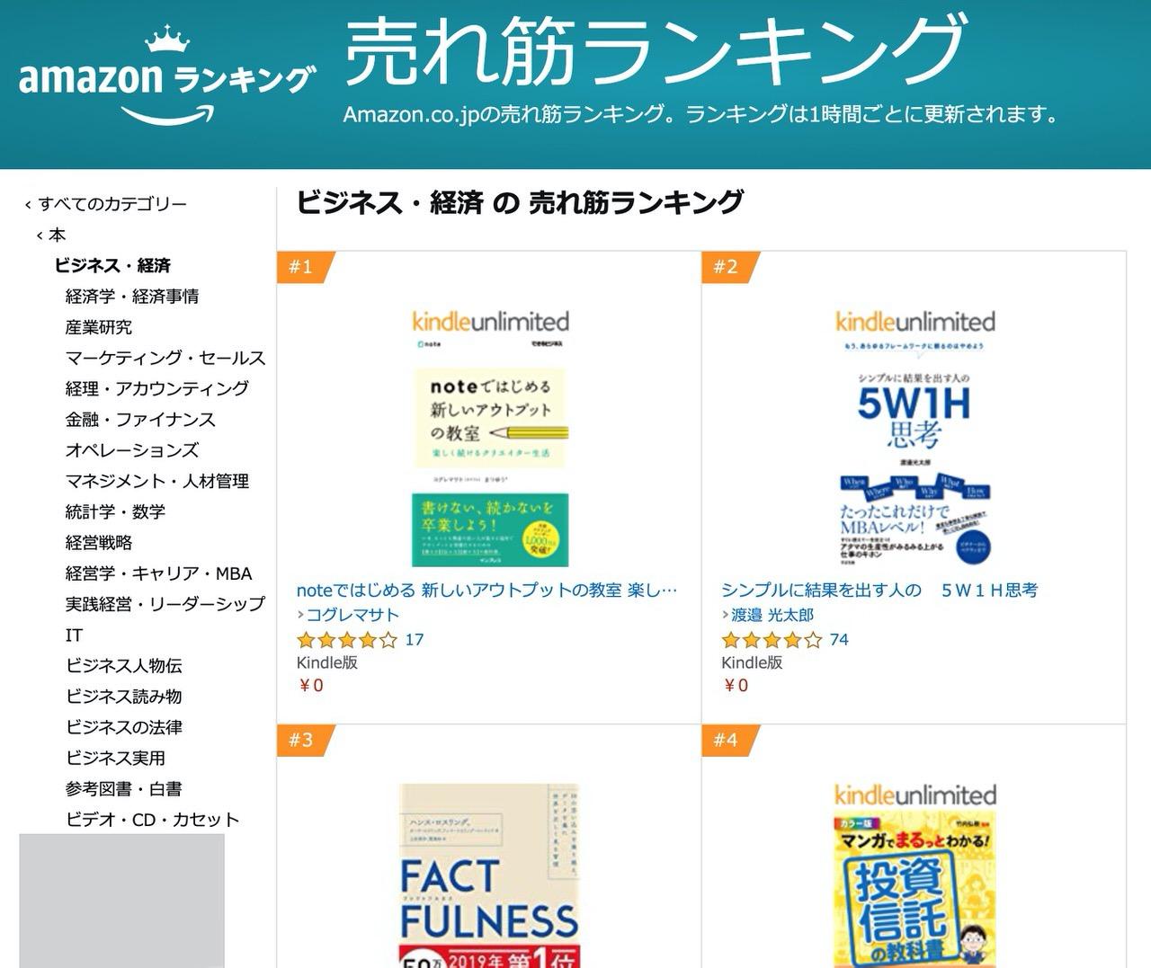 「noteではじめる 新しいアウトプットの教室」ビジネス・経済でランキング1位&Kindleストア有料ランキングで11位に!