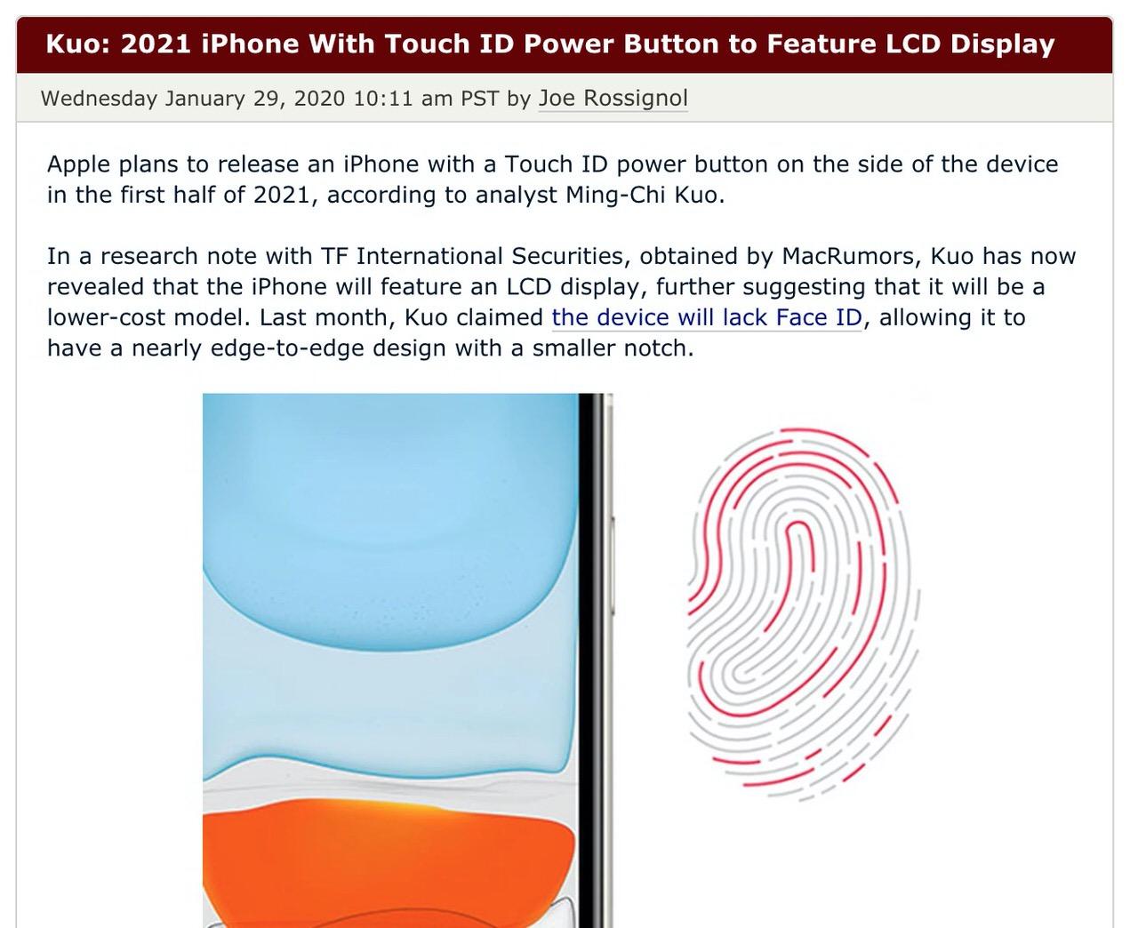 Apple、2021年に電源ボタンにTouch ID内蔵の低価格iPhoneをリリースか?