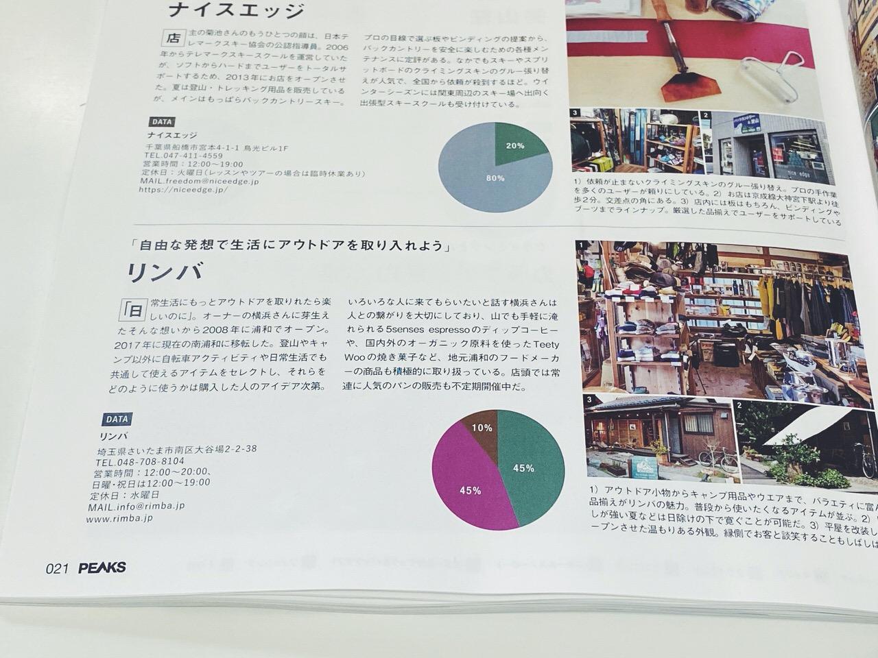 日本全国のアウトドアショップ125店舗を収録「PEAKS  2020年3月号」3