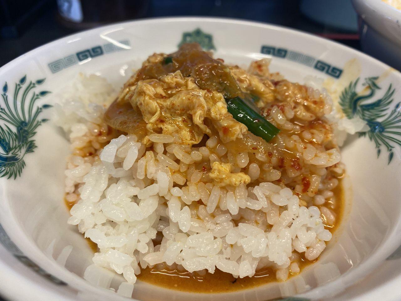 日高屋「チゲ味噌ラーメン」味付け卵 5