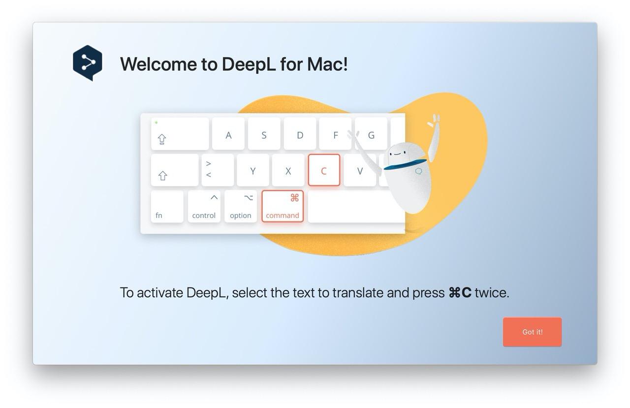 精度の良い翻訳サービス「DeepL翻訳」Mac版アプリを常駐して⌘+C+Cで簡単に翻訳できる