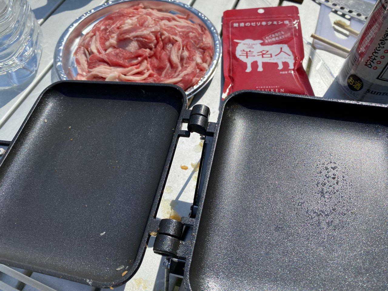 「ホットサンドメーカー」ラム肉とピリ辛クミン塩