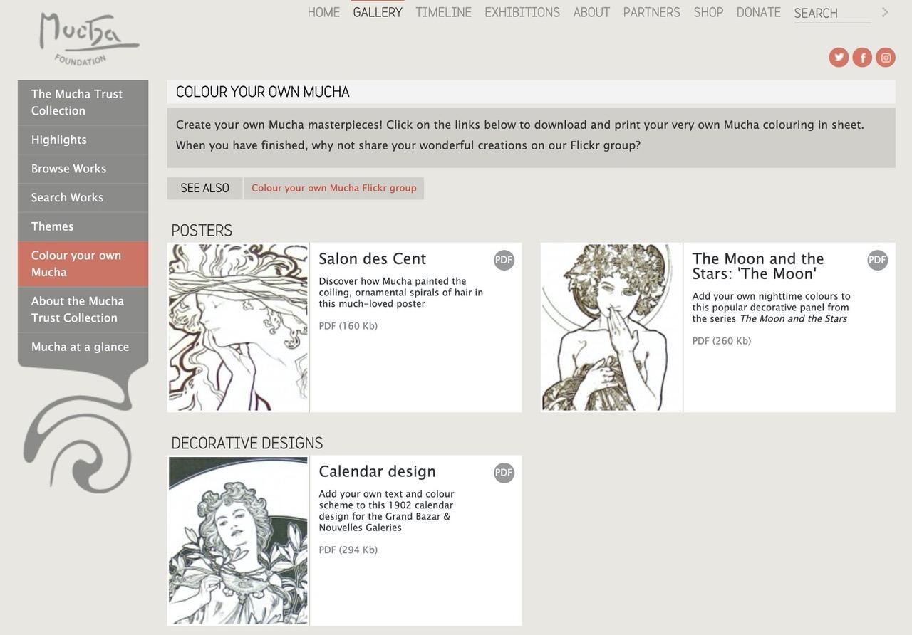 ミュシャ財団、アール・ヌーヴォーを代表するグラフィックデザイナーのアルフォンス・ミュシャの塗り絵データを公開中