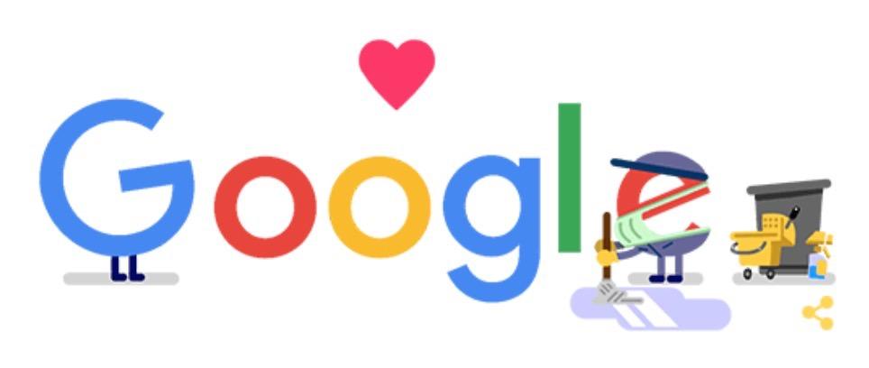 Googleロゴ「衛生 コロナ 支援」に