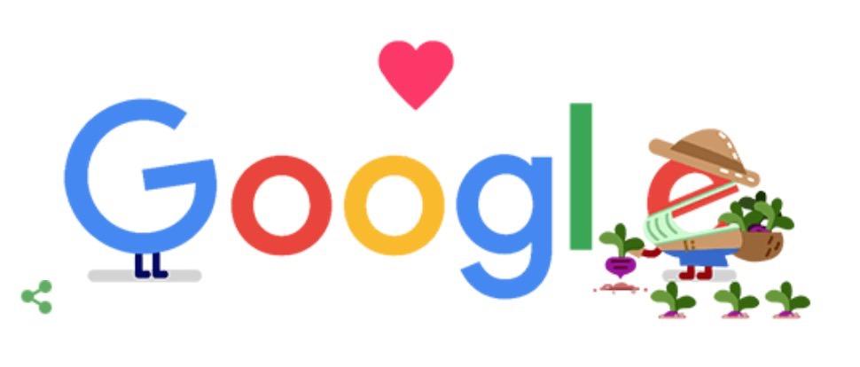 Googleロゴ「農業 コロナ 支援」に