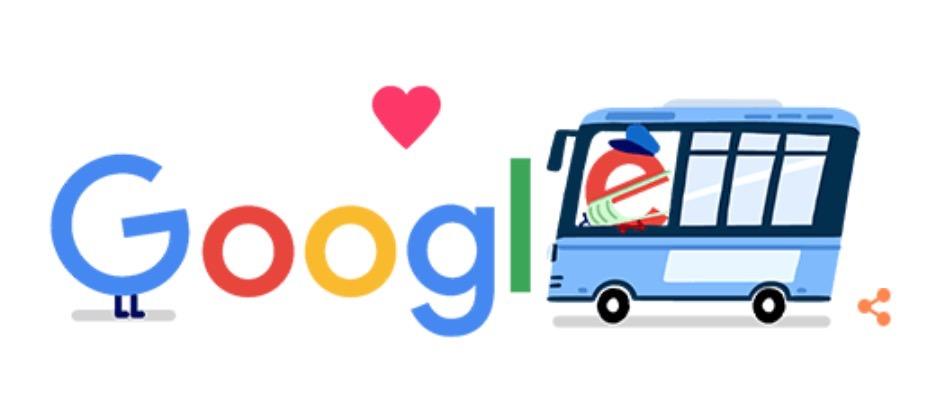 Googleロゴ「公共交通機関 コロナ 支援」に