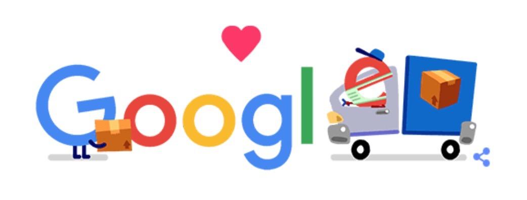 Googleロゴ「物流 コロナ 応援」に