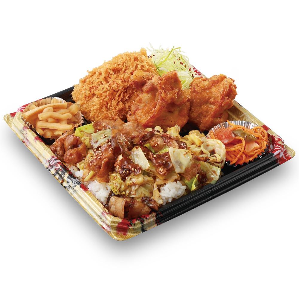 【かつや】お弁当なのかおかず盛り合わせなのかわからないボリューム感の「全力飯弁当」を4/20より発売開始