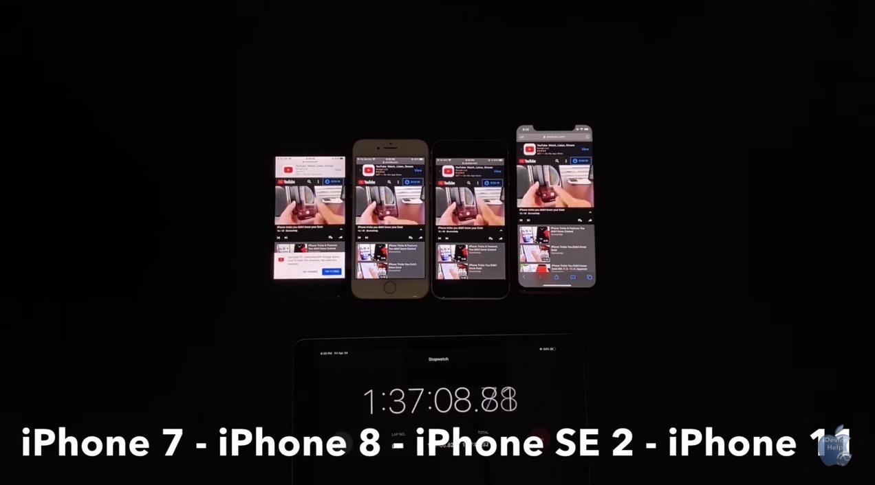 「iPhone SE」バッテリーテストの結果はiPhone 8より大幅に持ちが良いことが判明