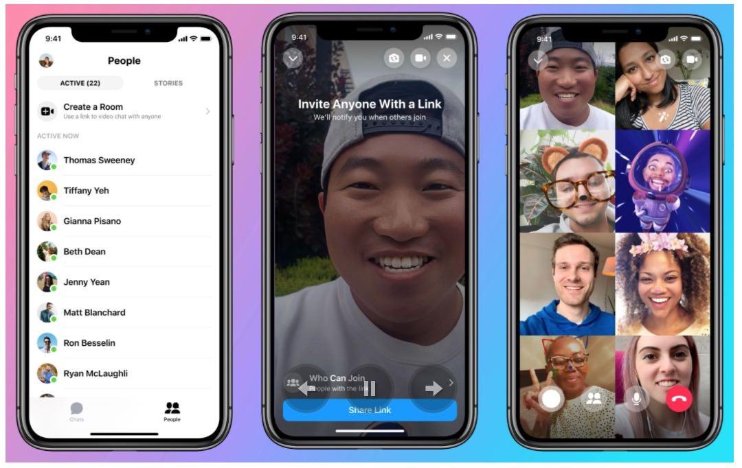 Facebook、最大50人が時間無制限で参加できるビデオチャット「Messenger Rooms」リリース