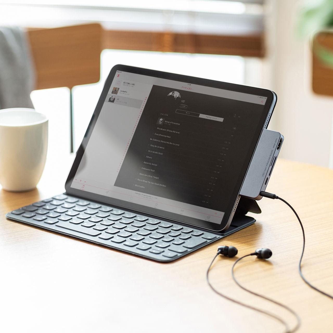 サンワサプライ、iPad Pro専用カードリーダー付きドッキングハブ「USB-3TCHIP2」発売開始